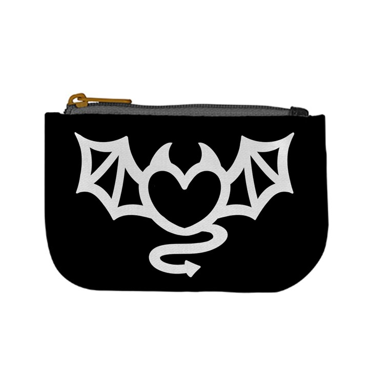 Winged Devil heart - Black and White Coin Change Purse