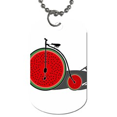Watermelon Bicycle  Dog Tag (two Sides) by Valentinaart