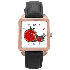 Watermelon Bicycle  Rose Gold Leather Watch  by Valentinaart