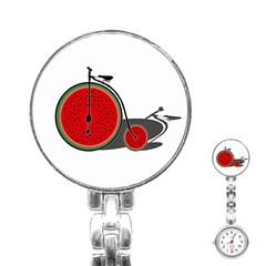 Watermelon Bicycle  Stainless Steel Nurses Watch by Valentinaart