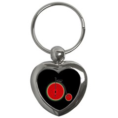 Watermelon Bicycle  Key Chains (heart)  by Valentinaart