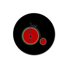 Watermelon Bicycle  Rubber Round Coaster (4 Pack)  by Valentinaart