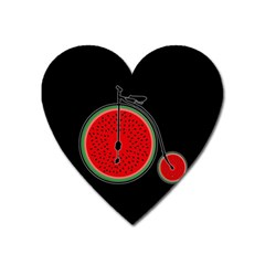 Watermelon Bicycle  Heart Magnet by Valentinaart