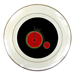 Watermelon Bicycle  Porcelain Plates by Valentinaart