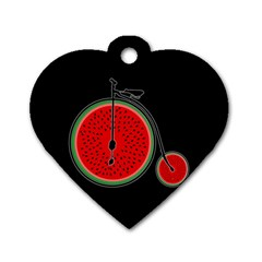 Watermelon Bicycle  Dog Tag Heart (two Sides) by Valentinaart
