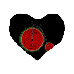 Watermelon Bicycle  Standard 16  Premium Heart Shape Cushions by Valentinaart