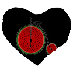 Watermelon Bicycle  Large 19  Premium Flano Heart Shape Cushions by Valentinaart