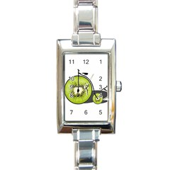 Kiwi Bicycle  Rectangle Italian Charm Watch by Valentinaart