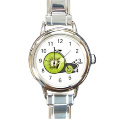 Kiwi Bicycle  Round Italian Charm Watch by Valentinaart