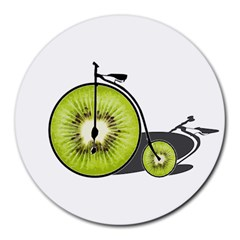 Kiwi Bicycle  Round Mousepads by Valentinaart