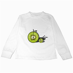 Kiwi Bicycle  Kids Long Sleeve T Shirts by Valentinaart