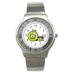 Kiwi Bicycle  Stainless Steel Watch by Valentinaart