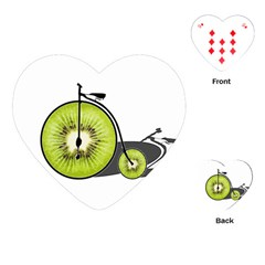 Kiwi Bicycle  Playing Cards (heart)  by Valentinaart