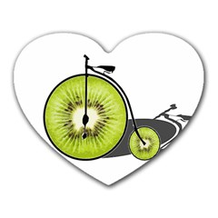 Kiwi Bicycle  Heart Mousepads by Valentinaart
