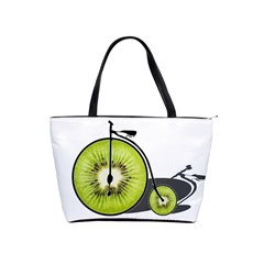 Kiwi Bicycle  Shoulder Handbags by Valentinaart