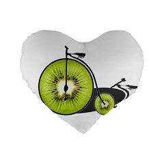 Kiwi Bicycle  Standard 16  Premium Heart Shape Cushions by Valentinaart