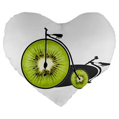 Kiwi Bicycle  Large 19  Premium Heart Shape Cushions by Valentinaart