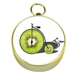 Kiwi Bicycle  Gold Compasses by Valentinaart