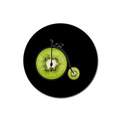 Kiwi Bicycle  Rubber Round Coaster (4 Pack)  by Valentinaart
