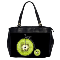 Kiwi Bicycle  Office Handbags (2 Sides)  by Valentinaart