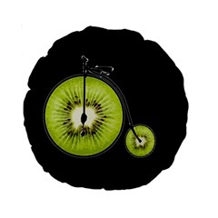 Kiwi Bicycle  Standard 15  Premium Round Cushions by Valentinaart