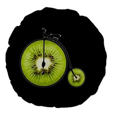 Kiwi Bicycle  Large 18  Premium Round Cushions by Valentinaart