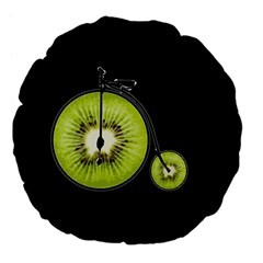 Kiwi Bicycle  Large 18  Premium Flano Round Cushions by Valentinaart