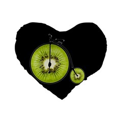 Kiwi Bicycle  Standard 16  Premium Flano Heart Shape Cushions by Valentinaart