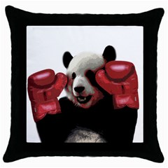 Boxing Panda  Throw Pillow Case (black) by Valentinaart