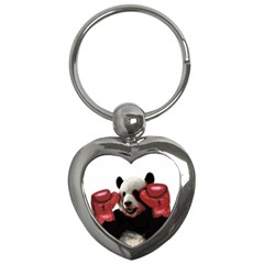 Boxing Panda  Key Chains (heart)  by Valentinaart
