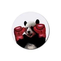 Boxing Panda  Rubber Coaster (round)  by Valentinaart