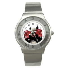 Boxing Panda  Stainless Steel Watch by Valentinaart