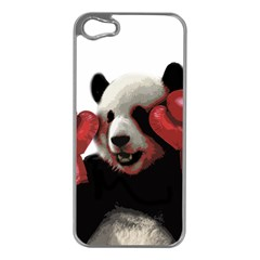 Boxing Panda  Apple Iphone 5 Case (silver) by Valentinaart