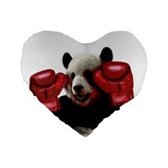 Boxing Panda  Standard 16  Premium Heart Shape Cushions by Valentinaart