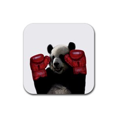 Boxing Panda  Rubber Square Coaster (4 Pack)  by Valentinaart