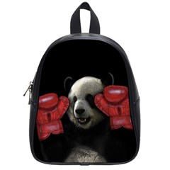 Boxing Panda  School Bags (small)  by Valentinaart