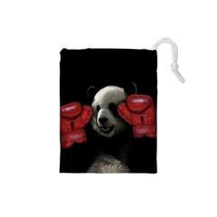 Boxing Panda  Drawstring Pouches (small)  by Valentinaart