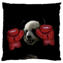 Boxing Panda  Large Flano Cushion Case (two Sides)