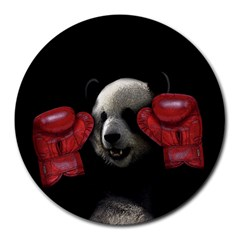 Boxing Panda  Round Mousepads by Valentinaart