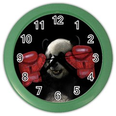 Boxing Panda  Color Wall Clocks by Valentinaart