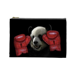 Boxing Panda  Cosmetic Bag (large)  by Valentinaart