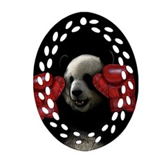 Boxing Panda  Oval Filigree Ornament (two Sides) by Valentinaart