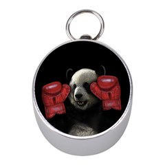 Boxing Panda  Mini Silver Compasses by Valentinaart
