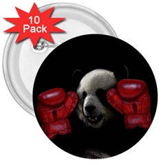 Boxing Panda  3  Buttons (10 Pack)  by Valentinaart