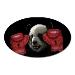 Boxing Panda  Oval Magnet by Valentinaart