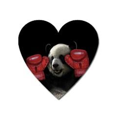 Boxing Panda  Heart Magnet by Valentinaart