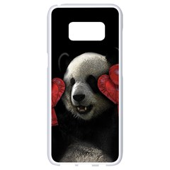 Boxing Panda  Samsung Galaxy S8 White Seamless Case by Valentinaart