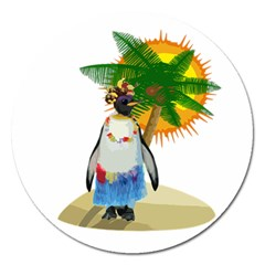 Tropical Penguin Magnet 5  (round) by Valentinaart