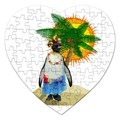 Tropical Penguin Jigsaw Puzzle (heart) by Valentinaart