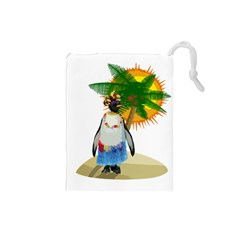 Tropical Penguin Drawstring Pouches (small)  by Valentinaart